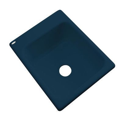 """Solidcast Aberdeen 17"""" x 22"""" Prep Kitchen Sink Finish: Navy Blue, Faucet Drillings: No hole"""