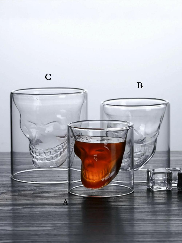 1pc Skull Head Design Glass Cup Shein Usa In 2020 Glass Cup Skull Head Design [ 1332 x 1000 Pixel ]