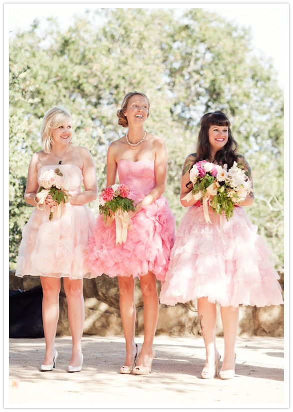 Vintage-Santa-Barbara-wedding-bridesmaids in pink betsey johnson ...