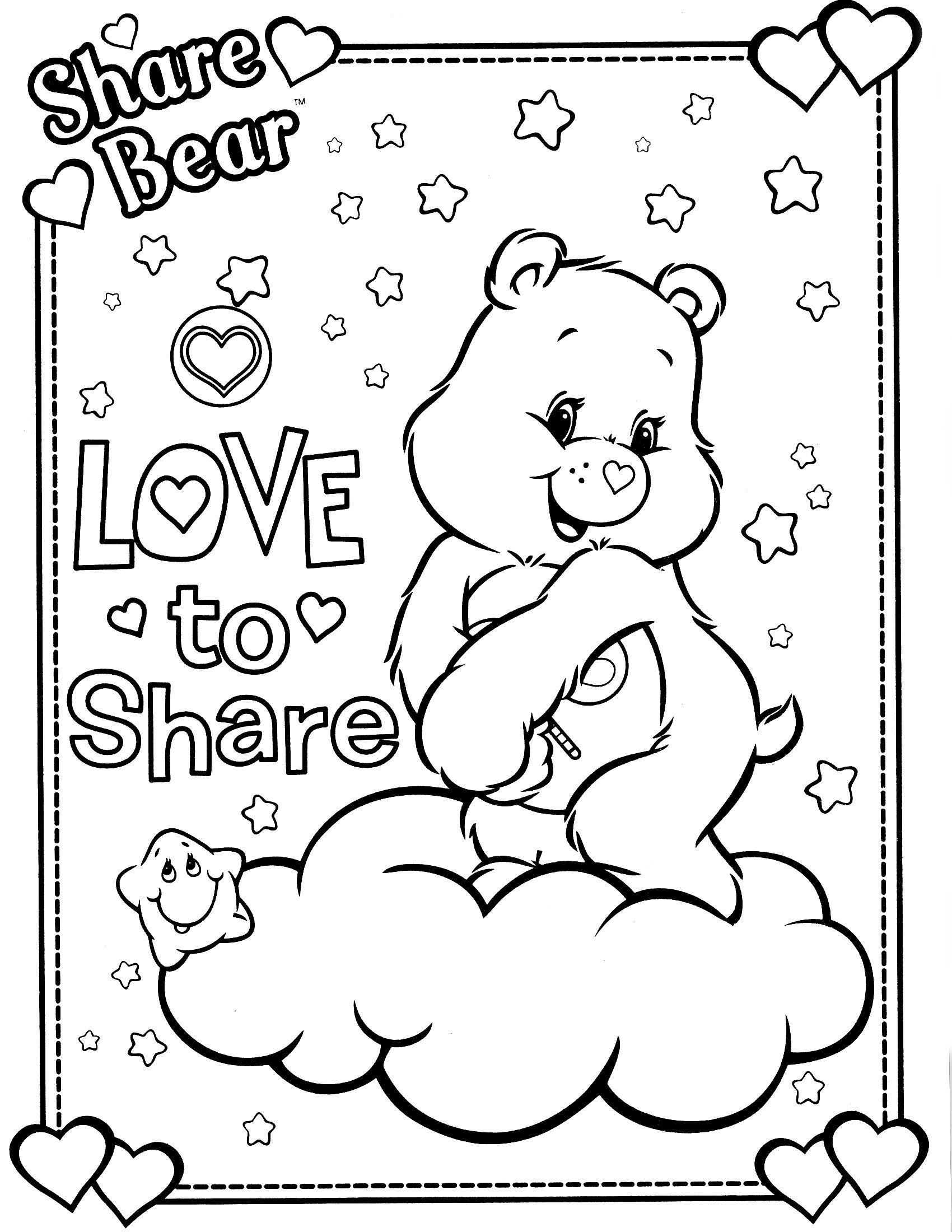 free coloring pages sharing | care bears coloring page | Bear coloring pages, Coloring ...
