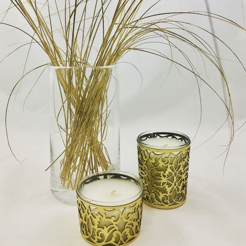 scented candle gold, home made Morocco, parfum Fleur d
