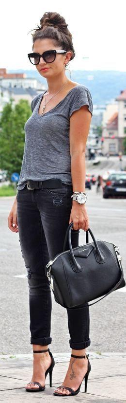 Grey tee + black skinnies.   casual style   Fashion, Style ...