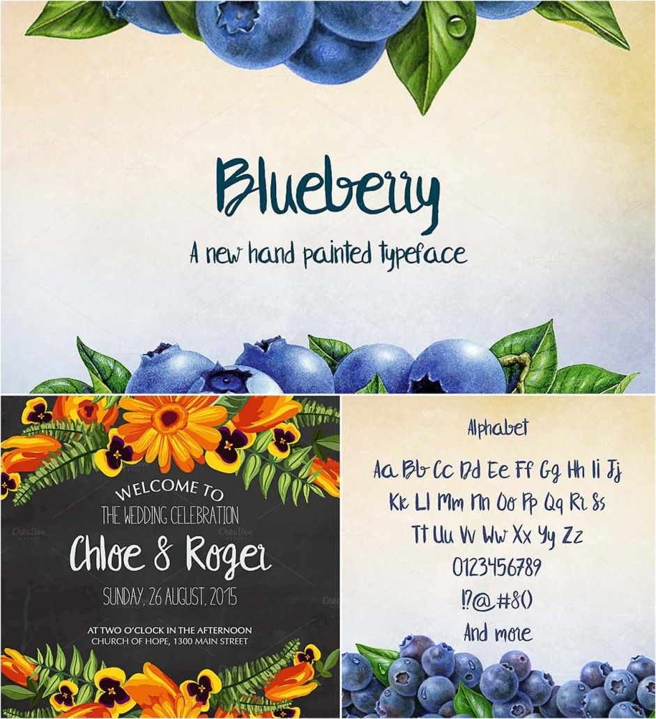 Blueberry hand written font Handwritten fonts, Free