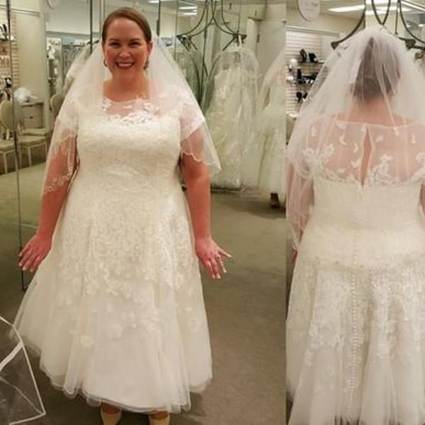 Oleg Cassini Cap Sleeve Tea Length Wedding Dress - Davids Bridal ...