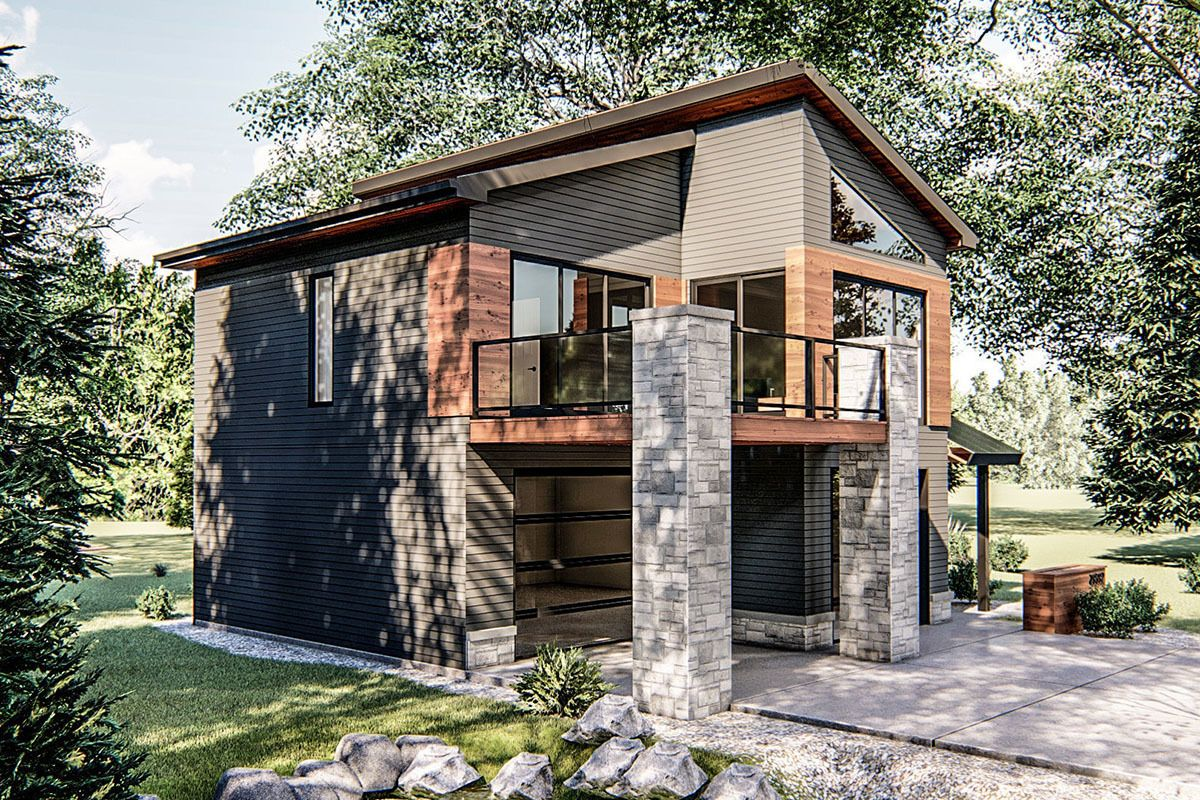 Plan 62695DJ: Ultra-Modern Tiny House Plan in 2020 ...