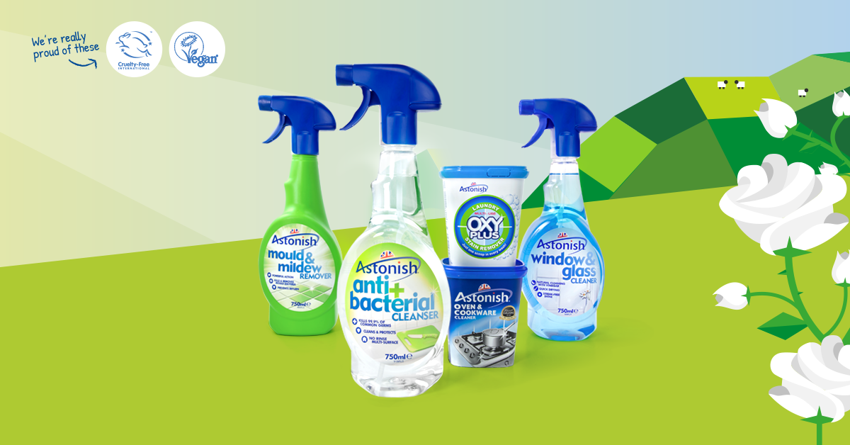Astonish manufacturers cruelty free cleaning products, not tested on animals and free from any animal derivatives ingredients. We're squeaky clean!