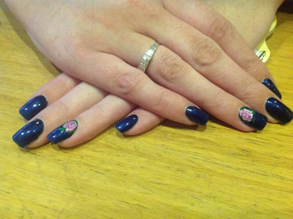 Acrylic refills with perfect match gel polish on top. The kings navy ...