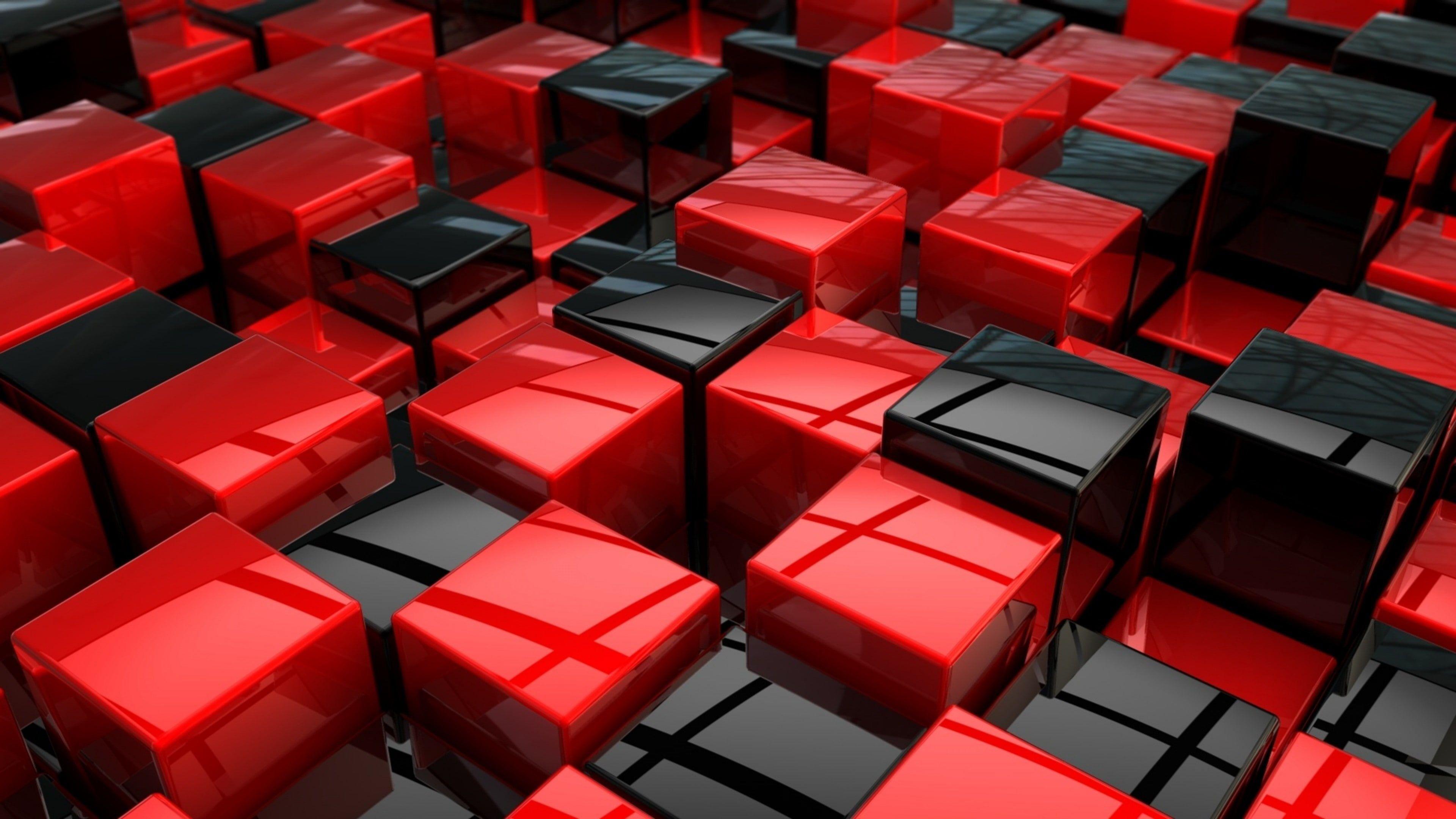 #3d Digital Art #cube Abstract Art #cubes #red #black #4K