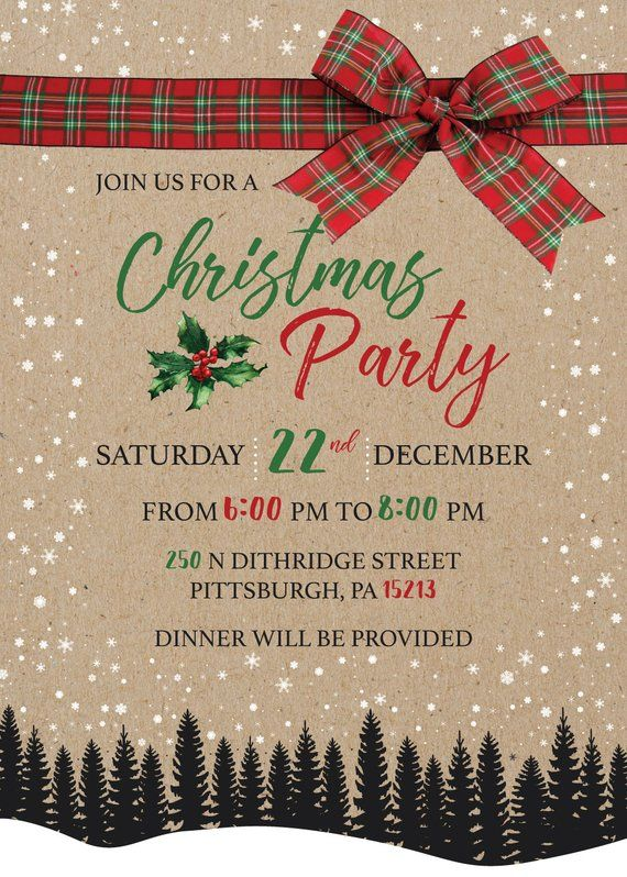 2021 Company Christmas Party Ideas Rustic Christmas Party Invitation Company Holiday Party Etsy In 2021 Company Christmas Party Invitations Rustic Christmas Party Invitations Christmas Party Invitations