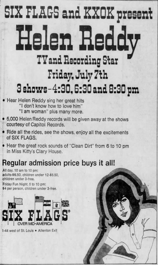 Clipping Found In St Louis Post Dispatch In St Louis Missouri On Jul 5 1972 Helen Reddy At Six Flags 7 7 1972 In 2021 Helen Reddy Concert Flyer Band Posters