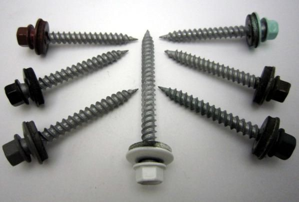 Roofing Screws With Neoprene Washers And Painted Heads