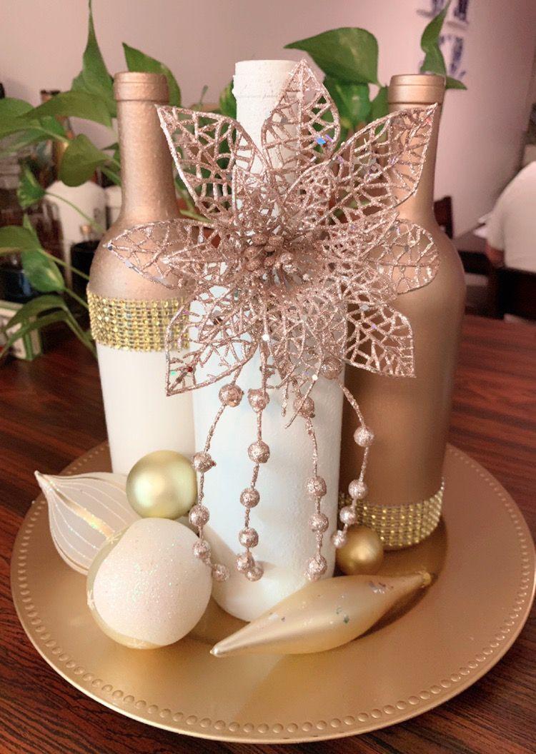 Rose Gold White Gold Xmas Centerpiece Rose Gold Christmas Decorations Rose Gold Christmas Rose Gold Christmas Tree