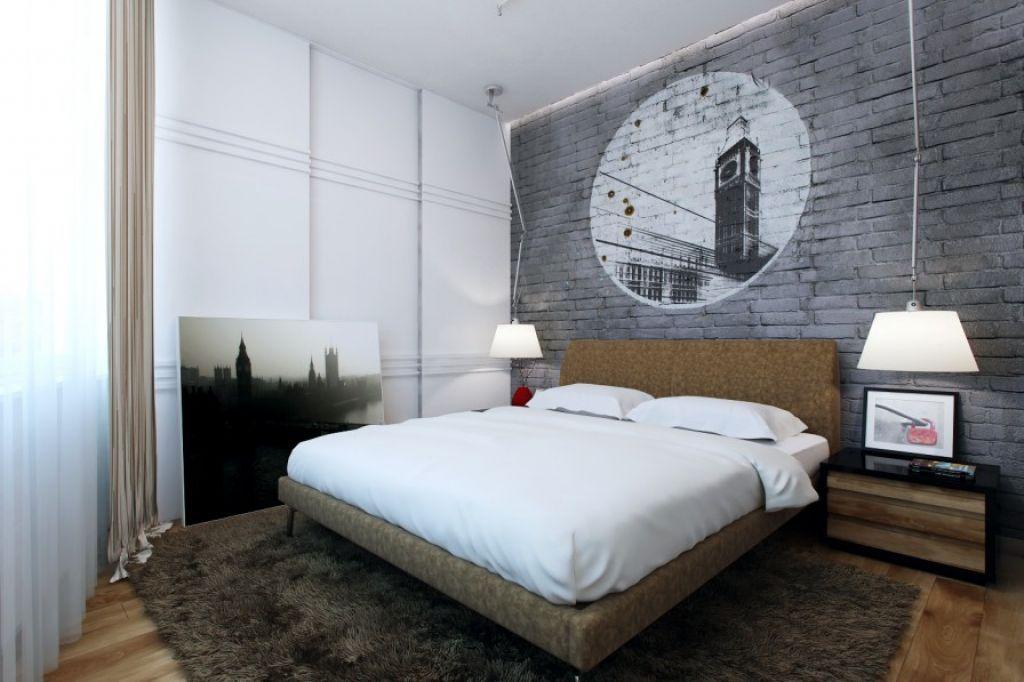 Unique Bedroom Design Ideas Alluring Chicmasculinebedroomwithuniquewallideasandsimpleflatbed Design Inspiration