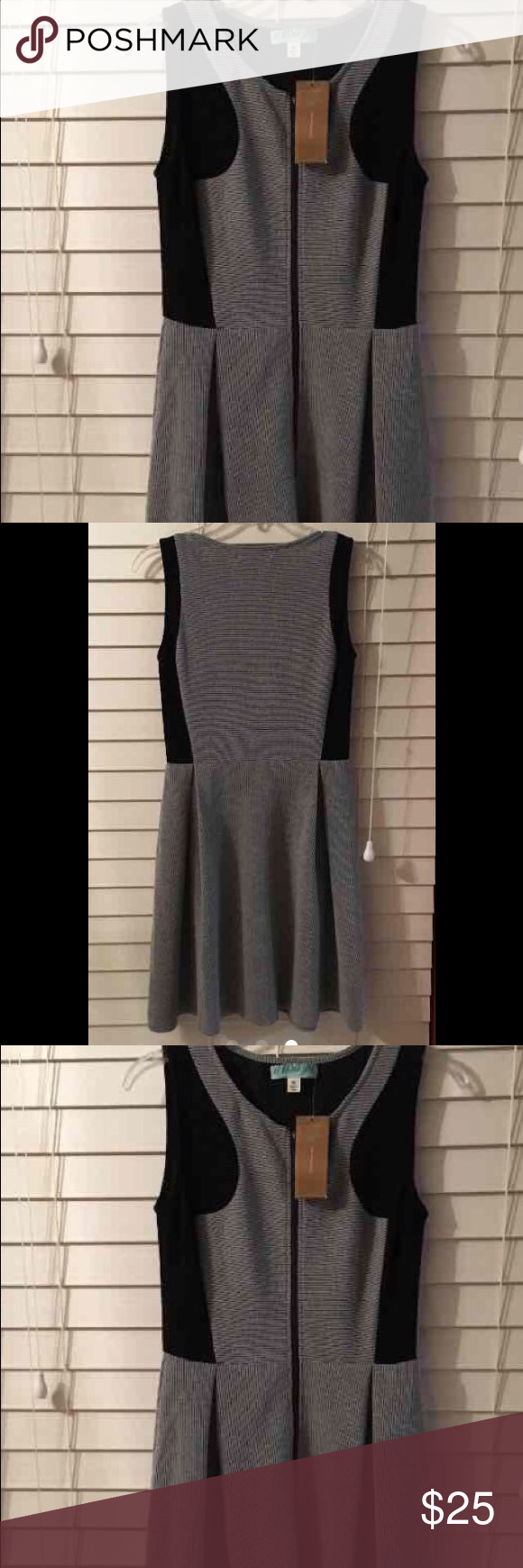NWT sleeveless black/gray dress medium NWT sleeveless zip up front  dress black/gray. Hits right at knee Dresses Midi