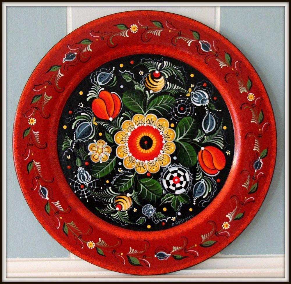 "Norwegian Rosemaling,14"" Hand Painted Wooden Decorative"
