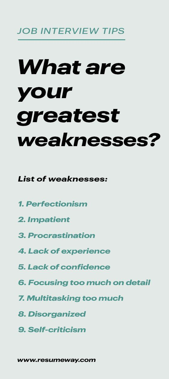 Strengths and Weaknesses for Job Interviews [Great Answers] in 2020 | Job  interview advice, Job interview preparation, Job interview answers