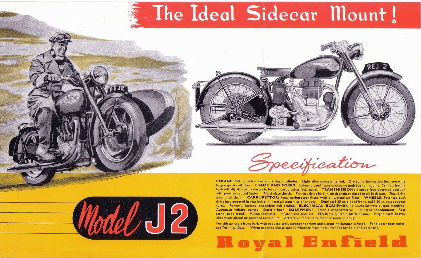Red Devil Motors: Royal Enfield J2 1954 brochure
