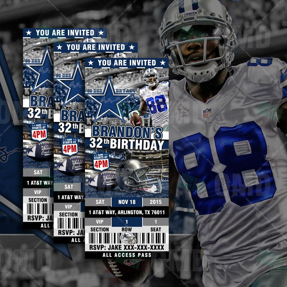 Dallas Cowboys Ticket Style Sports Party Invitations | Football ...