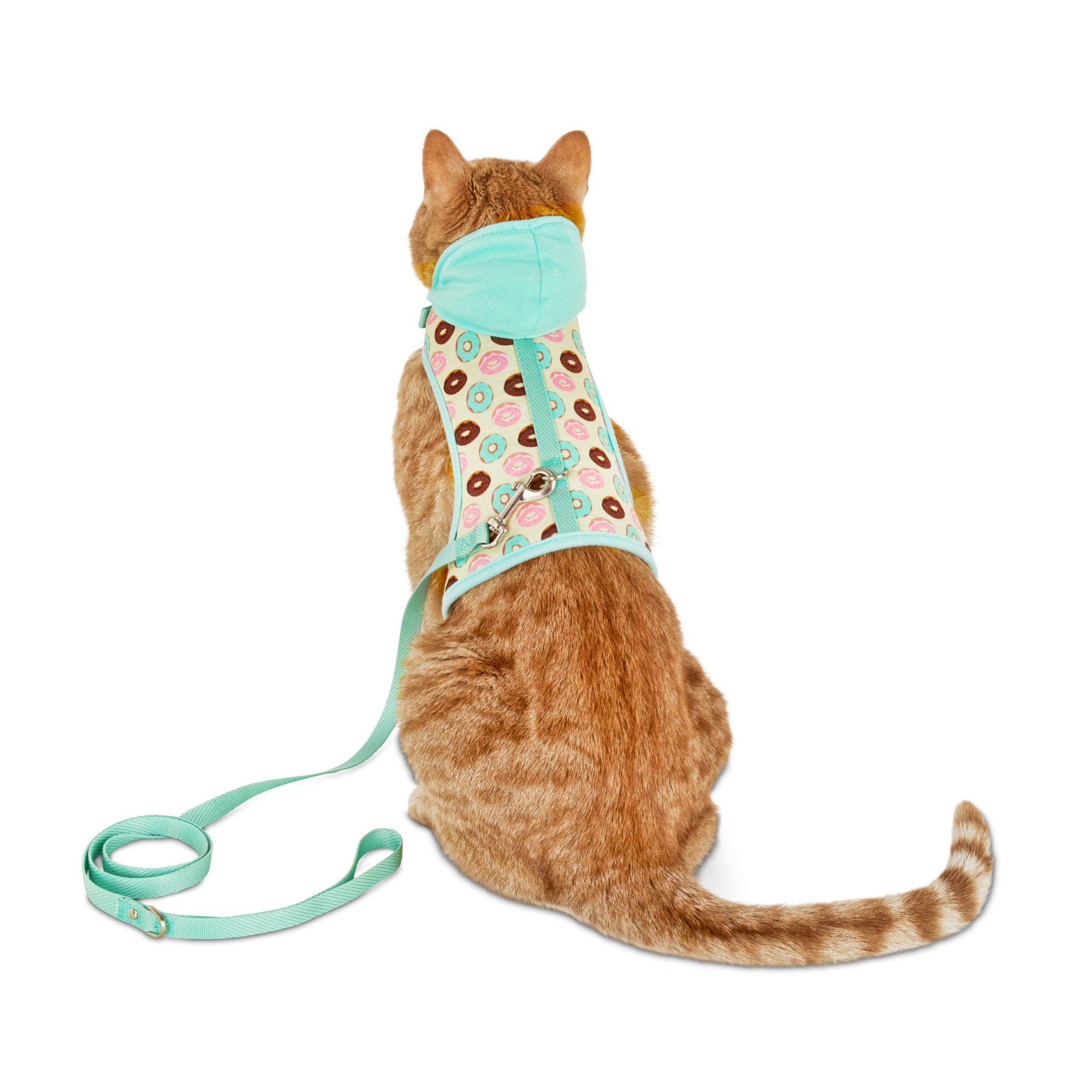 Bond Co Donut Print Hooded Cat Harness And Leash Set Standard Cat Harness Cat Collars Pet Collars