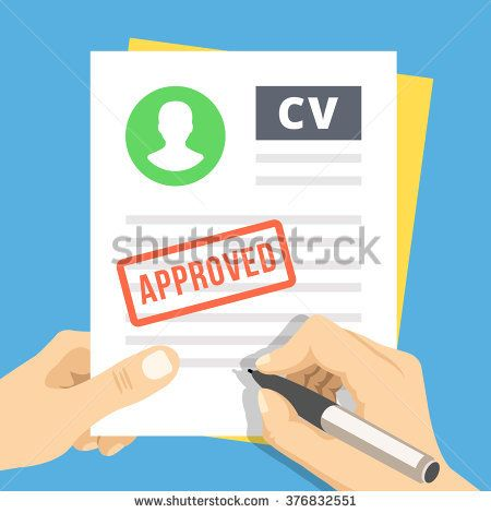 CV approvevent Hand with pen sign a job application Employment - application for employment