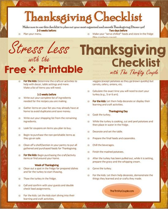 Free Printable Thanksgiving Checklist