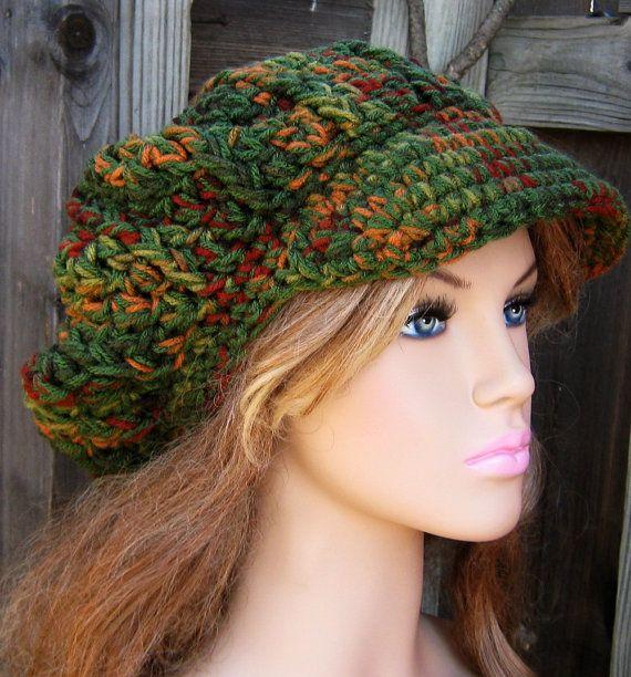 Fall green Cap Visor Tam Hat Hippie Slouchy by PurpleSageDesignz ...