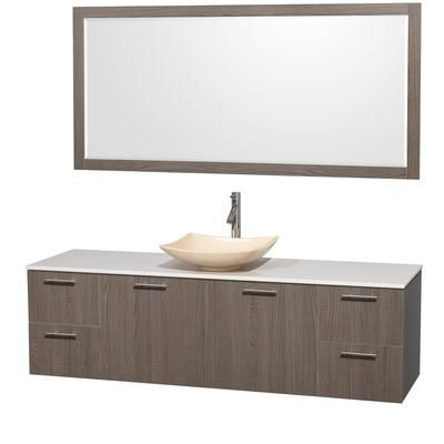 Wyndham Collection - Amare 72 In. Single Grey Oak Bathroom Vanity, Solid SurfaceTop, Ivory Marble Sink, 70 In. Mirror - WCR410072SGOWSGS5M70 - Home Depot Canada