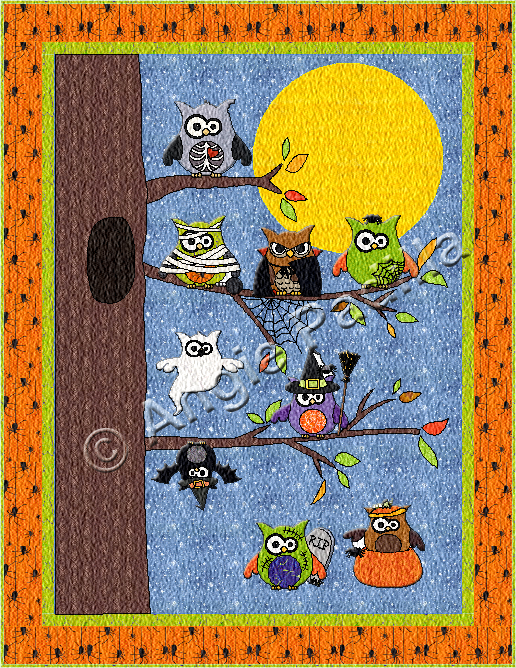 Owl-o-ween Hangout Wall Hanging | Owl, Patterns and Autumn quilts : owl pattern quilt - Adamdwight.com