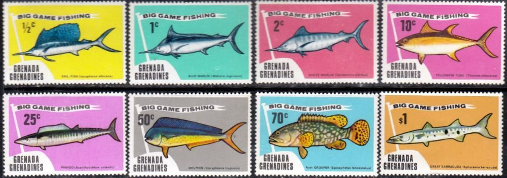 Grenada Grenadines 1975 Big Game Fishing Set Fine Mint SG 42 9 Scott 41 8 Other West Indies and British Commonwealth Stamps HERE!