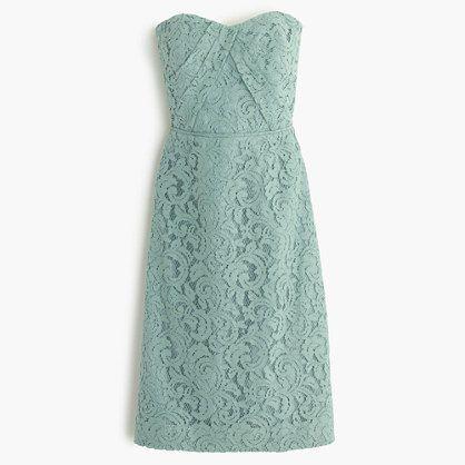 Dusty Shale J.Crew - Kelsey strapless dress in Leavers lace ...