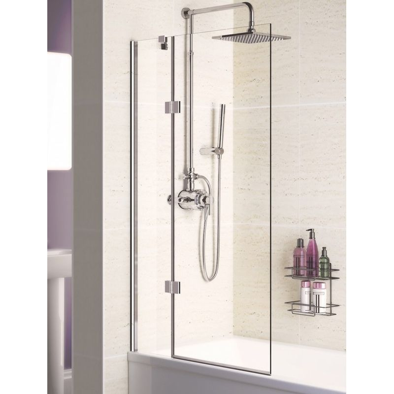 Lakes Coastline Hinged Bath Screen 1500mm H X 1000mm W Left Handed Bath Screens Lake Bathroom Bath