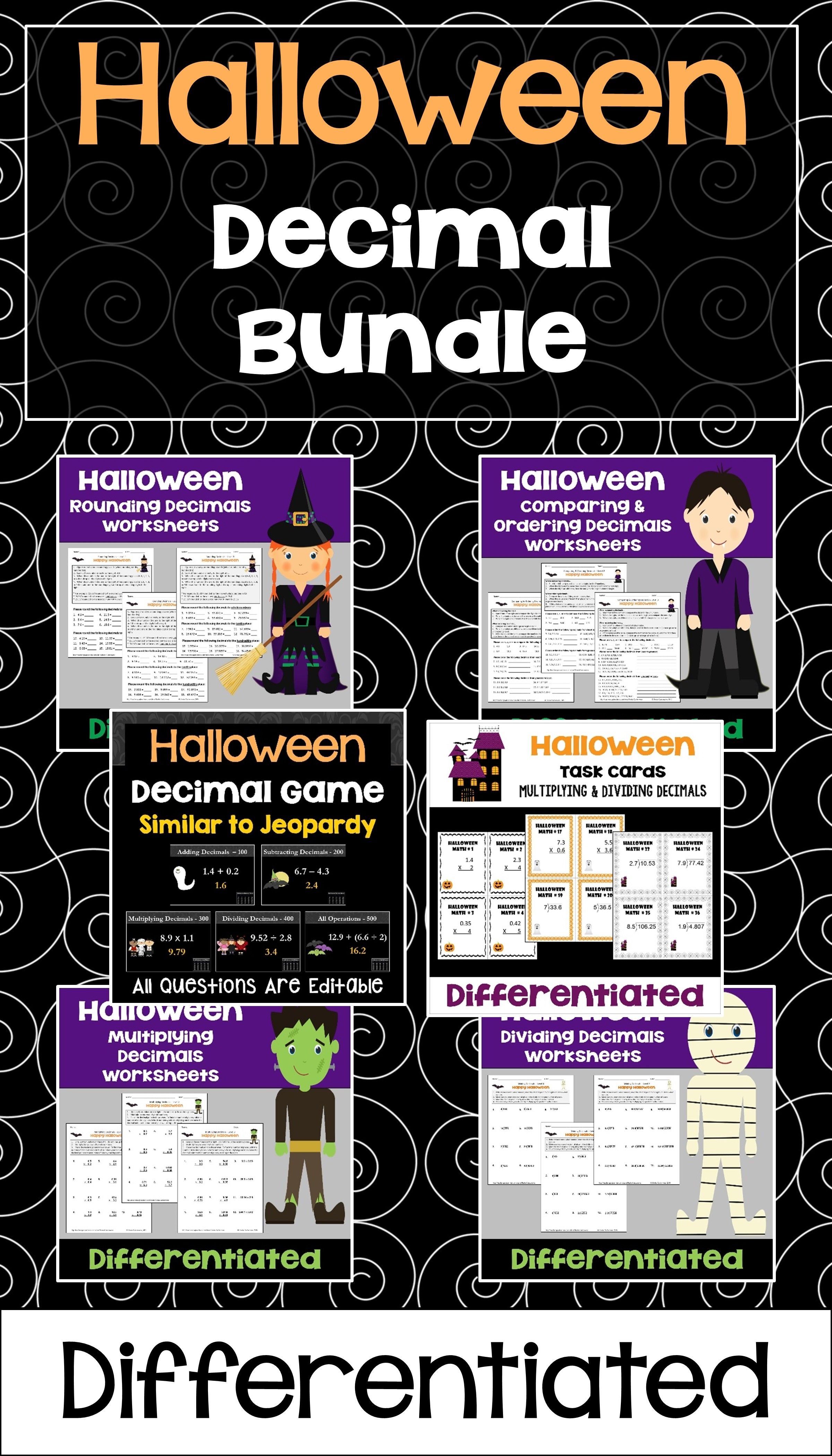 Halloween Math Decimal Bundle With Worksheets Task Cards