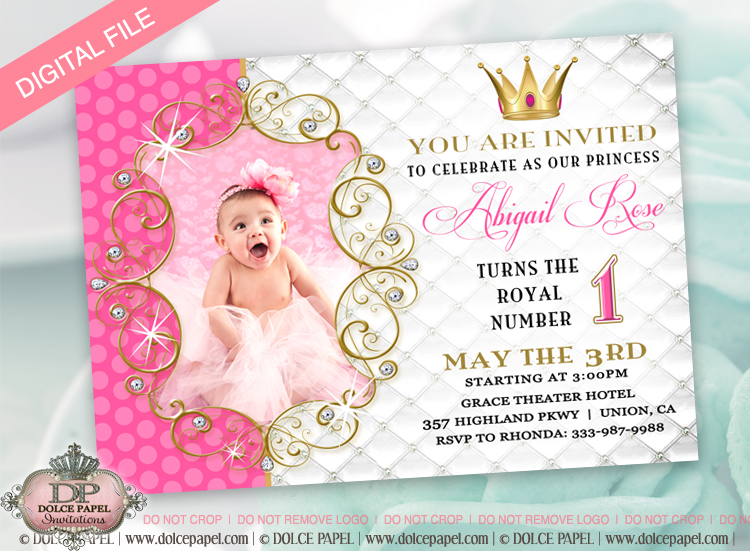 Fairytale Party Invitation Pink Gold Princess Girl Birthday – Princess 1st Birthday Invitations