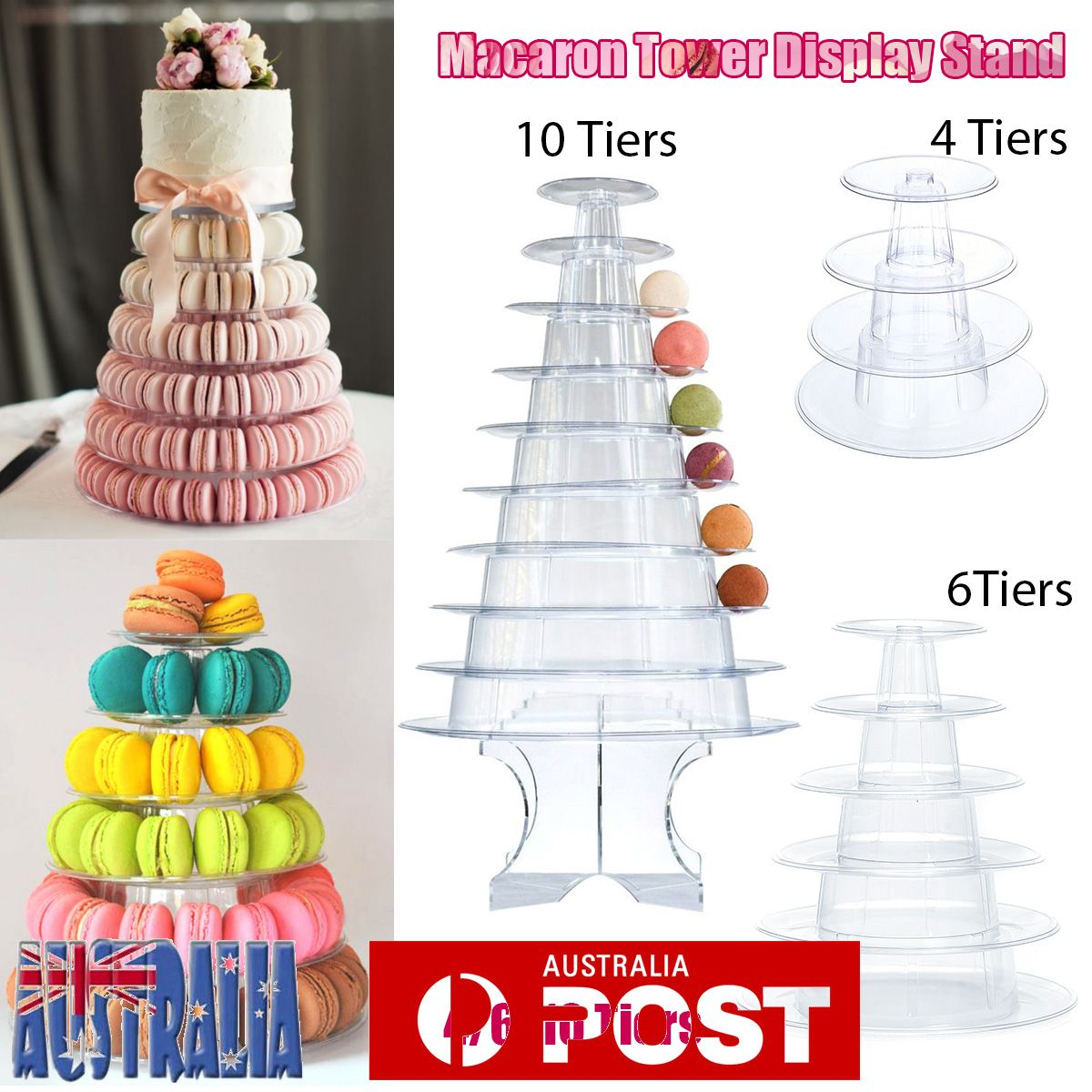 Au 4 6 10 Tier Macaron Tower Macaroon Stand Wedding Chocolate Cake Stand Clear Macaron Tower Wedding Chocolate Christmas Cake Designs