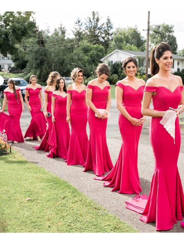 New Off Shoulder Fuschia Bridesmaid Dresses Long Mermaid Style Fuschia Bridesmaid Dresses Red Bridesmaid Dresses Bridesmaid Dresses