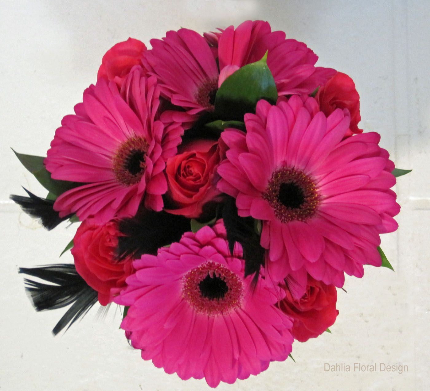 Pink Gerbera With Roses And Balck Feathers Wedding Flower Bouquet