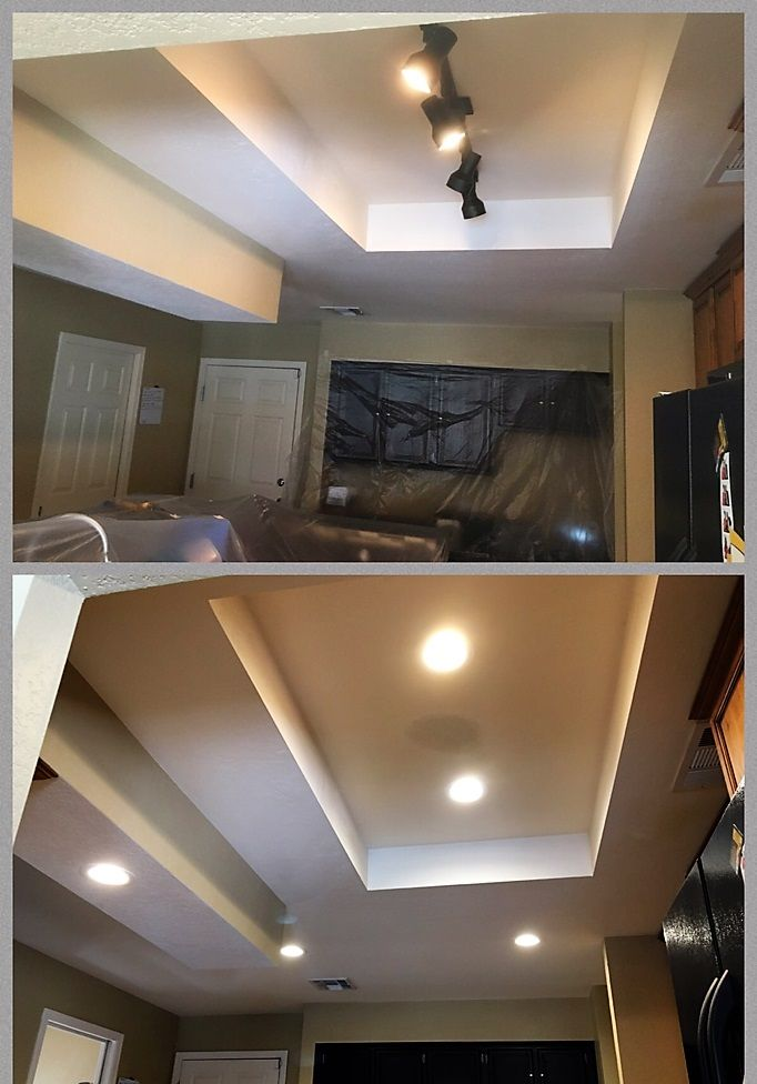 recessed lighting track. Removed Track Lighting And Patched Old Holes. Installed 5 LED Recessed In The Kitchen. Location Placement Was Very Hard To Get Best Coverage N