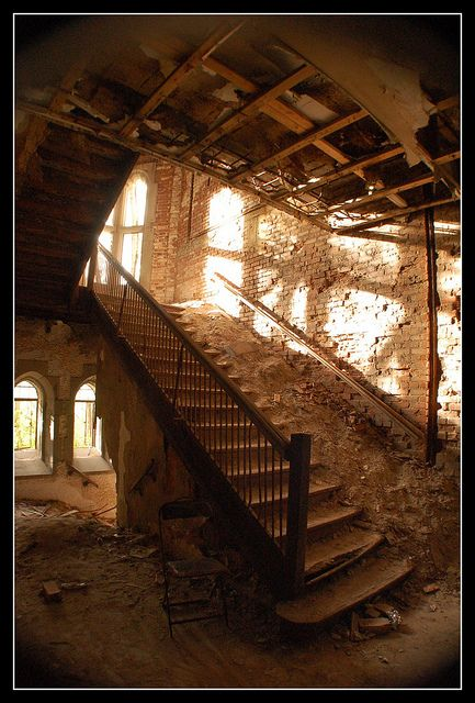 """Buried stairs. City Methodist Church, Gary, Indiana. Photography by """"Doostydusty"""" of Flickr."""