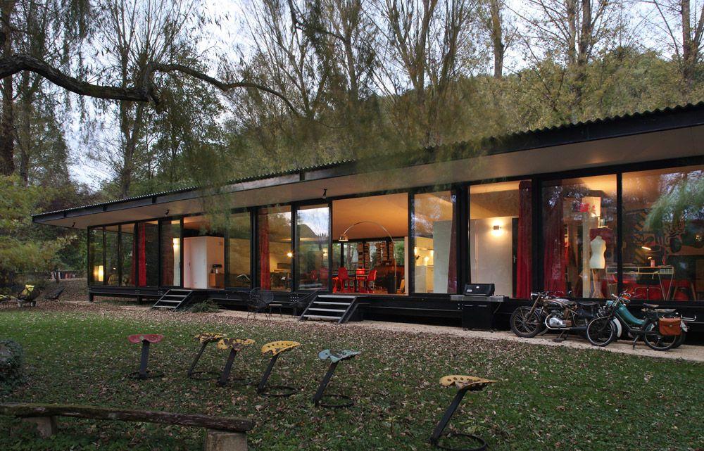 maison-verre-transparente-ossature-metallique Maison à charpente