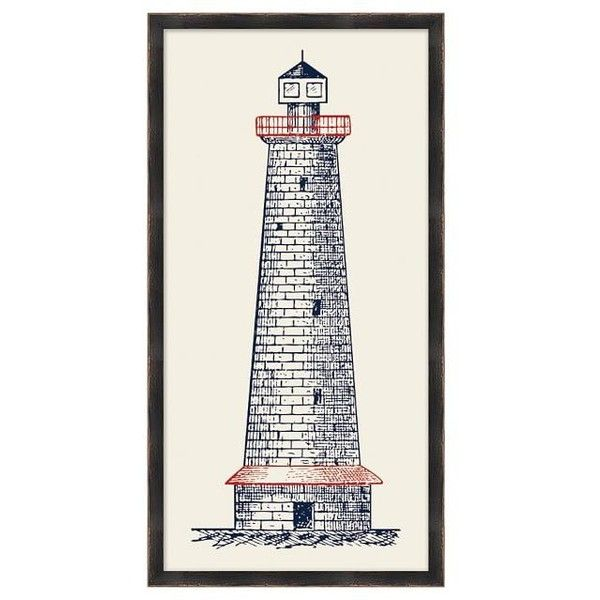 Pottery Barn Patriot Lighthouse Print ($199) ❤ Liked On Polyvore Featuring  Home, Home