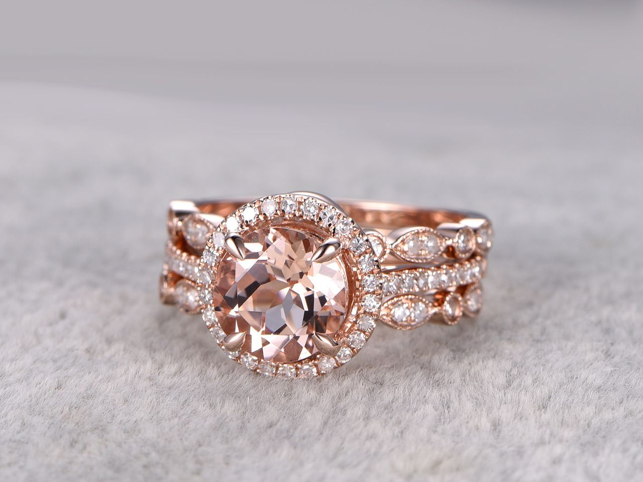 3pcs round morganite wedding set curved diamond bridal ring 14k rose gold halo art deco antique - Morganite Wedding Ring Set