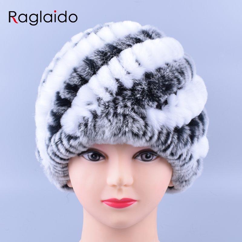 e7ccab0a57b Raglaido Rabbit Fur Hats for Women Real Rex Fur Caps Fashion Winter  Skullies Beanies LQ11169