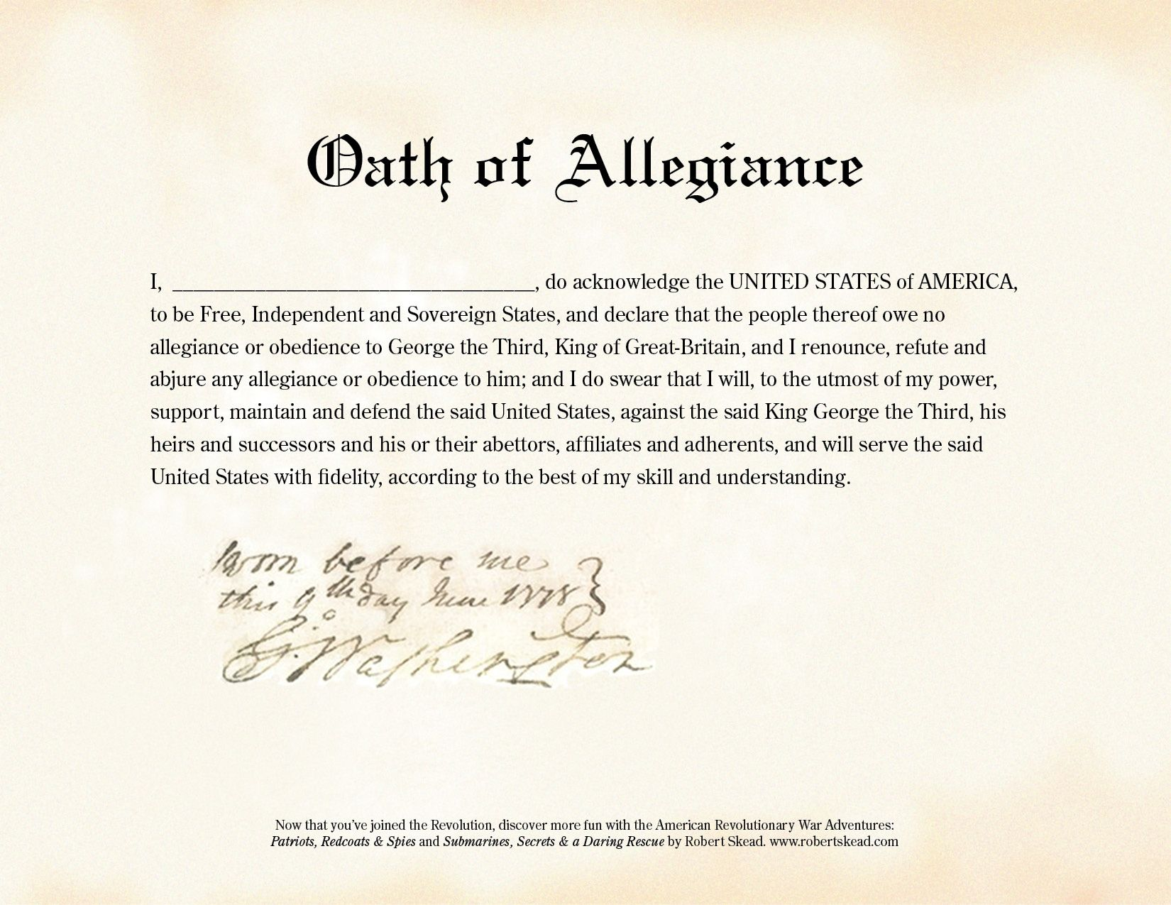 Resource for teachers teaching the american revolution resource for teachers teaching the american revolution continental oath of allegiance exact 1betcityfo Gallery