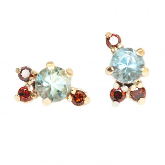 Mociun Colored Stone Cluster Earrings