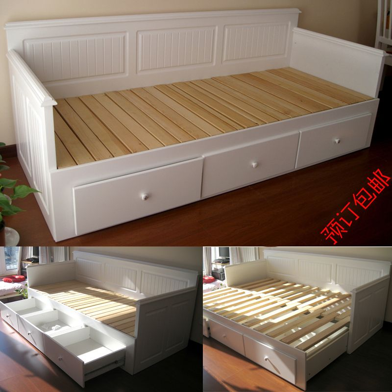 Hall fine furniture wood frame pull out sofa bed for Pull out bed