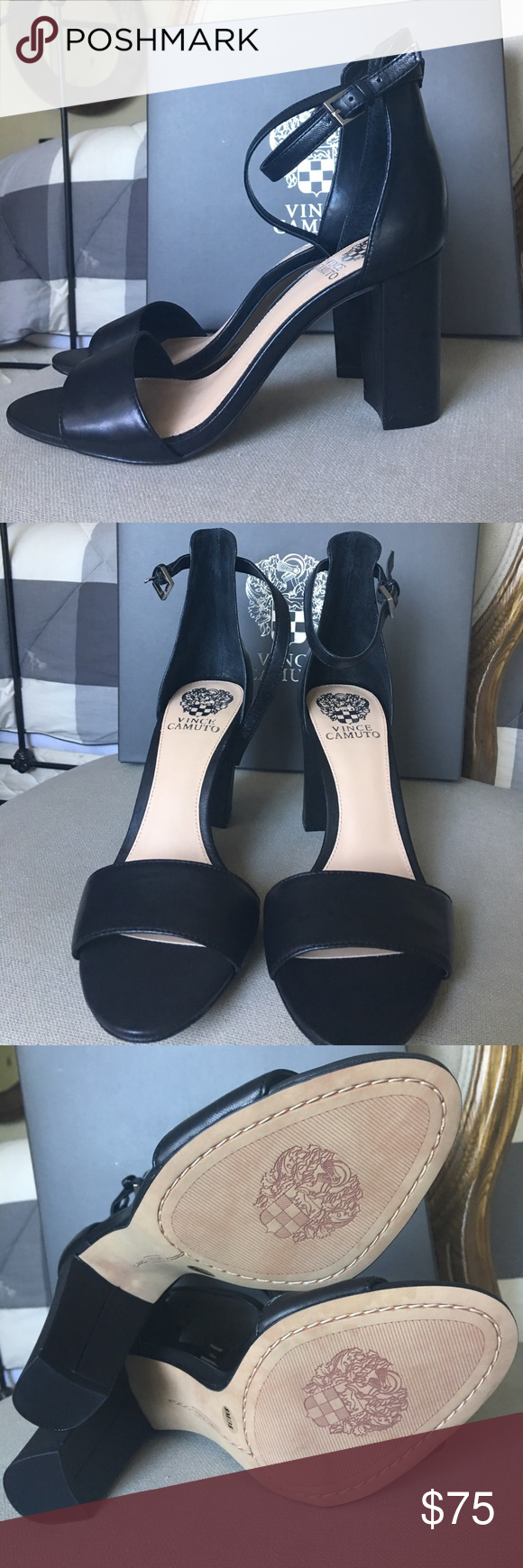 Nwt Black Camuto Leather Canute Heeled Vince Sandals PXnwO80k