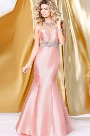 Blush Sheer Neckline Mermaid Dress 4076
