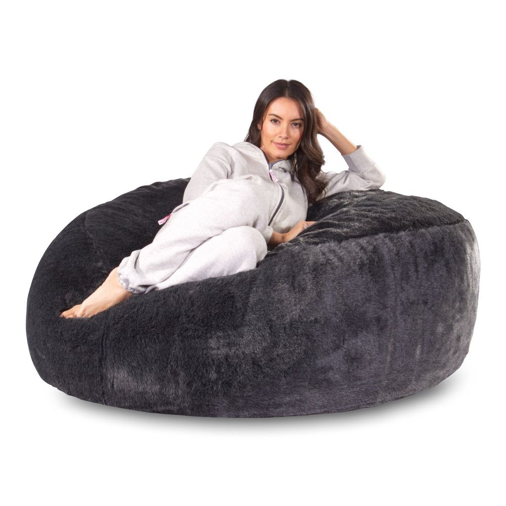 giant bean bag massive mega mammoth sofa style black fur by the lounge - Giant Bean Bags