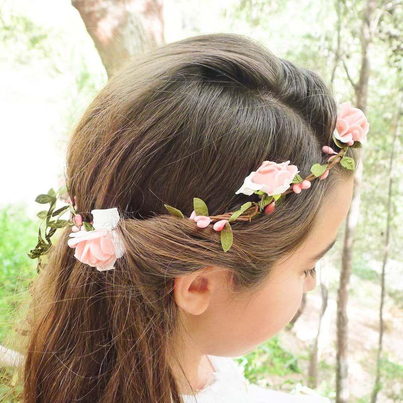 Corona Rosa Flores From Belandsophcom Peinados Para Krisme - Peinados-nias-comunin