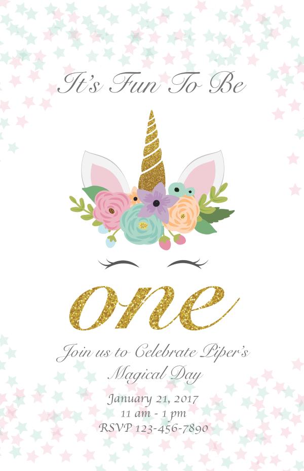 unicorn 1st birthday invitation